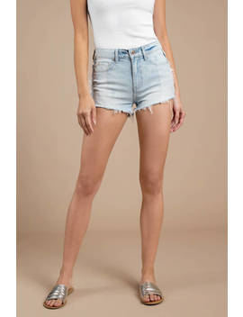 Pistola Winnie Light Wash Two Tone Denim Shorts by Tobi