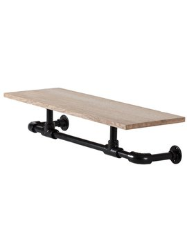 Williston Forge Boyce Floating Indistrial Pipe Wall Shelf by Williston Forge