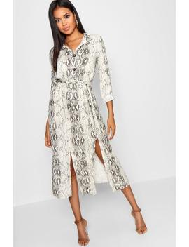 Snake Tie Belt Split Detail Midi Dress by Boohoo
