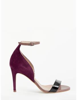 John Lewis & Partners Bianca Stiletto Heel Sandals, Burgundy Leather by John Lewis & Partners