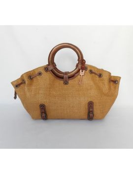 Fossil 75082 Women's Woven Straw & Leather Round Wood Handles Satchel Handbag by Fossil