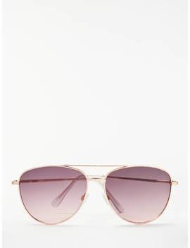 John Lewis & Partners Aviator Sunglasses, Rose Gold by John Lewis & Partners