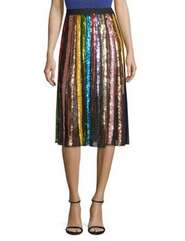 Tianna Striped Sequin Midi Skirt by Alice + Olivia