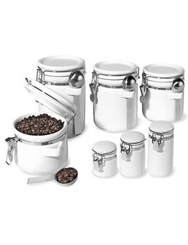 Food Storage Containers, 7 Piece Set Ceramic Canisters by Oggi