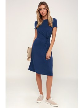 Brunch Squad Blue Short Sleeve Knotted Midi Dress by Lulus