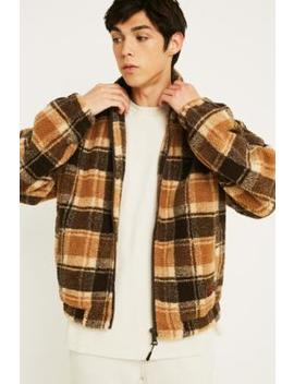 Uo Borg Brown Checked Track Jacket by Urban Outfitters