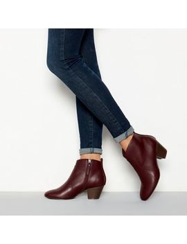 Mantaray   Dark Red Faux Leather 'montie' Mid Heel Ankle Boot by Mantaray