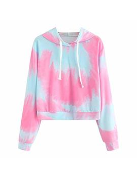 Easytoy Womens Fashion Sweatshirt, Long Sleeve Sweater Tye Dye Hoodie Jumper Hooded Pullover Tops Blouse by Easytoy