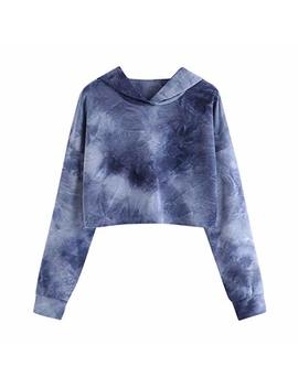 Women Teen Girls Tie Dye Print Long Sleeve Pullover Cropped Crop Top Hoodie Sweatshirt Casual Tops Blouse Shirt by Cooki