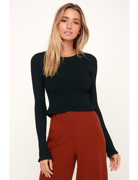 Anne Marie Black Long Sleeve Cropped Sweater Top by Lulus