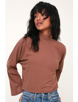 Reid Rust Brown Ribbed Mock Neck Sweater Top by Project Social T