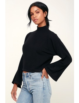 Reid Black Ribbed Mock Neck Sweater Top by Project Social T