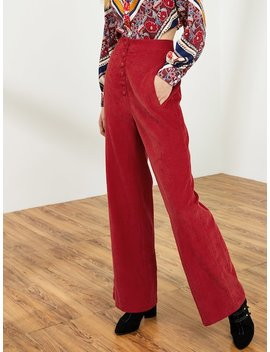Button Front Wide Leg Pants by Shein