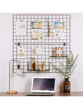 "Kufox Painted Wire Wall Grid Panel, Multifunction Photo Hanging Display And Wall Storage Organizer, Pack Of 2, Size 31.5"" X 15.8"", Black by Kufox"