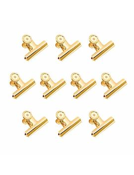 Gold Binder Clips, Coideal 10 Pack 2 Inch Stainless Steel Large Metal Bulldog/Hinge Paper Clips Clamps For Pictures Photos, Home Kitchen, Office Supplies (51mm) by Coideal
