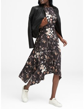 Floral Washable Stretch Silk Midi Dress by Banana Repbulic