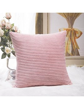 Home Brilliant Plush Velvet Corduroy Throw Euro Pillow Sham Cushion Cover For Sofa, 26 X 26 Inch (66cm), Baby Pink by Home Brilliant