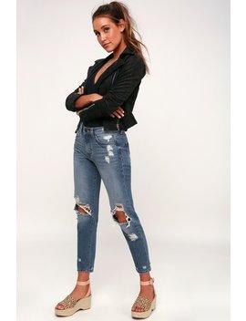Nola Medium Wash Distressed Boyfriend Jeans by Lulu's