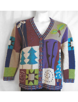 Storybook Knits Christmas Colorful Happy Designs Cardigan Sweater Size Small 12 by Storybook Knits