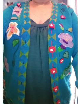 Storybook Knits*Humming Bird Themed* Rose Button Blue Cardigan by Storybook Knits