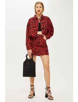 Petite Red Leopard Print Denim Skirt by Topshop