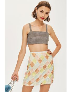 Pastel Diamond Sequin Mini Skirt by Topshop