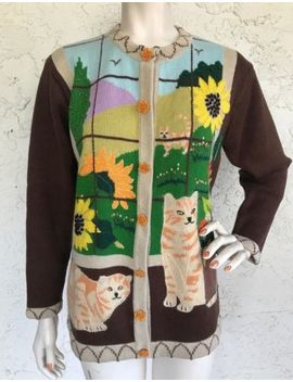 Storybook Knits Cardigan Sweater Cat Sequin Art To Wear Quirky Top Sz S by Storybook Knits