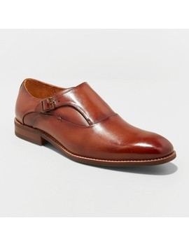 Men's Keanu Leather Monk Strap Dress Shoes   Goodfellow & Co™ Tan by Goodfellow & Co™