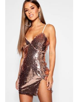 Petite Strappy Bust Detail Sequin Bodycon Dress by Boohoo