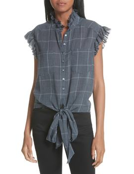 Ezra Ruffle Trim Plaid Blouse by Cinq À Sept