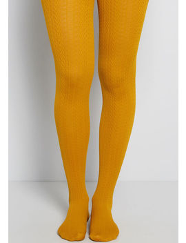 Cable For Discussion Tights In Mustard by Modcloth