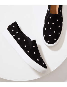 Embroidered Daisy Slip On Sneakers by Loft