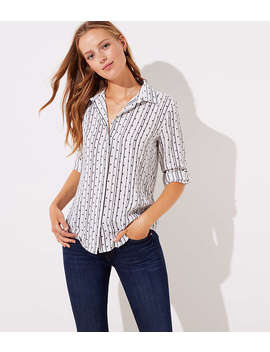 Dot Stripe Utility Blouse by Loft