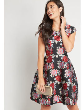 Refreshingly Floral Jacquard Dress by Yumi