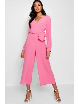 Wrap Over Woven Jumpsuit by Boohoo