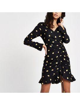 Black Print Frill Hem Mini Tea Dress by River Island