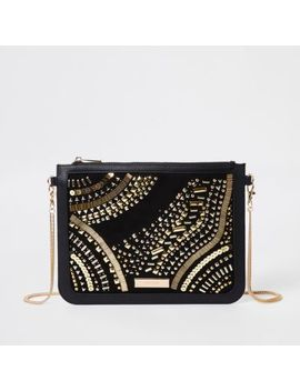 Black Stud Embellished Chain Strap Clutch Bag by River Island
