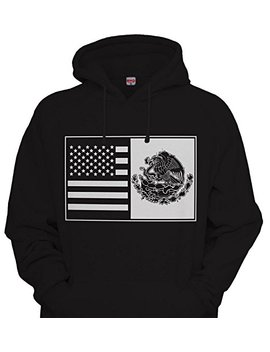 Cali Design Mexican American Hoodie Hooded Sweatshirt Heritage Roots Mexico Usa Flag Pride by Cali Design