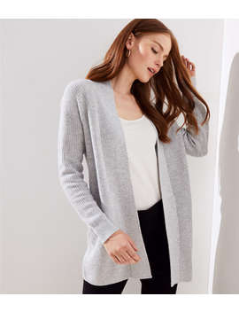 Ribbed Pocket Open Cardigan by Loft