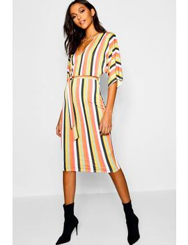 Kimono Sleeve Tonal Stripe Midi Dress by Boohoo