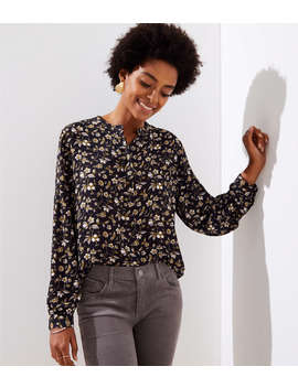 Floral Lantern Sleeve Henley Blouse by Loft