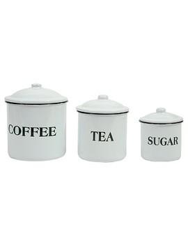 "3 R Studios ""Coffee Tea Sugar"" Metal Containers W/Lid   Set Of 3 by 3 R Studios"