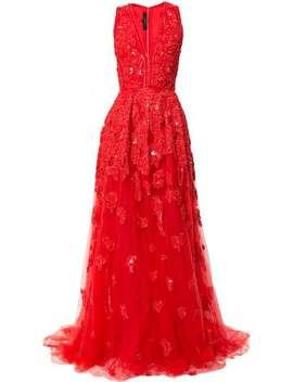 Elie Saab V Neck Embellished Tulle Ballgownhome Women Elie Saab Clothing Evening Dresses by Elie Saab