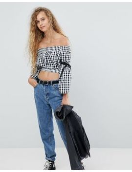 Love Shearing Crop Top With Tie Sleeves by Love
