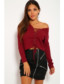 Sexy Wine Ribbed Lace Up Cropped Long Sleeve Top by Ami Clubwear