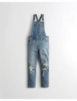 Classic Stretch High Rise Boyfriend Overalls by Hollister