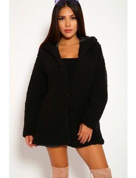 Sexy Black Long Sleeves Hoodie Shaggy Fabric Outerwear by Ami Clubwear