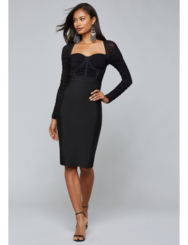 Mesh Contrast Bandage Dress by Bebe