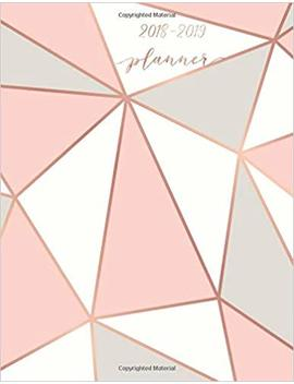 """2018 2019 Planner: Pink & Grey Weekly & Monthly Schedule Diary 
