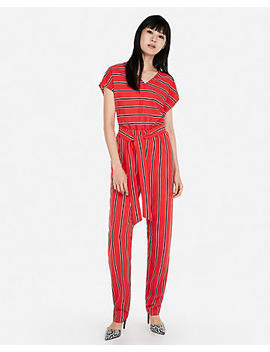 Stripe V Neck Short Sleeve Jumpsuit by Express